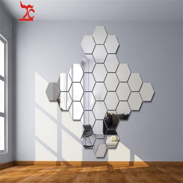 Hot Sale Hexagon Acrylic Mirror Wall Sticker Diy Art Wall Decor Wall