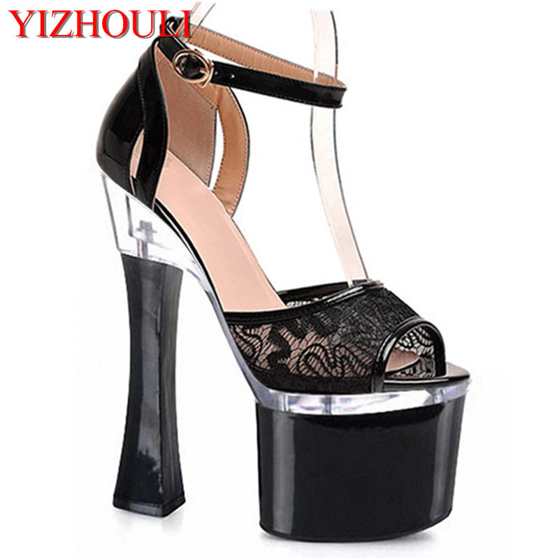 black party dresses hollow-out serging 18 cm super high heels Roman sandals style model with catwalk shoesblack party dresses hollow-out serging 18 cm super high heels Roman sandals style model with catwalk shoes