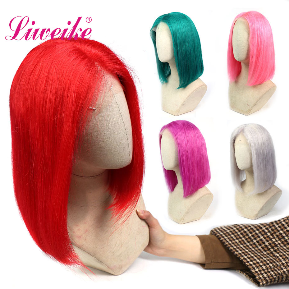 Liweike Short Bob Straight Lace Front Wig Pre Plucked Rosy Grey Red Pink Color Green Full