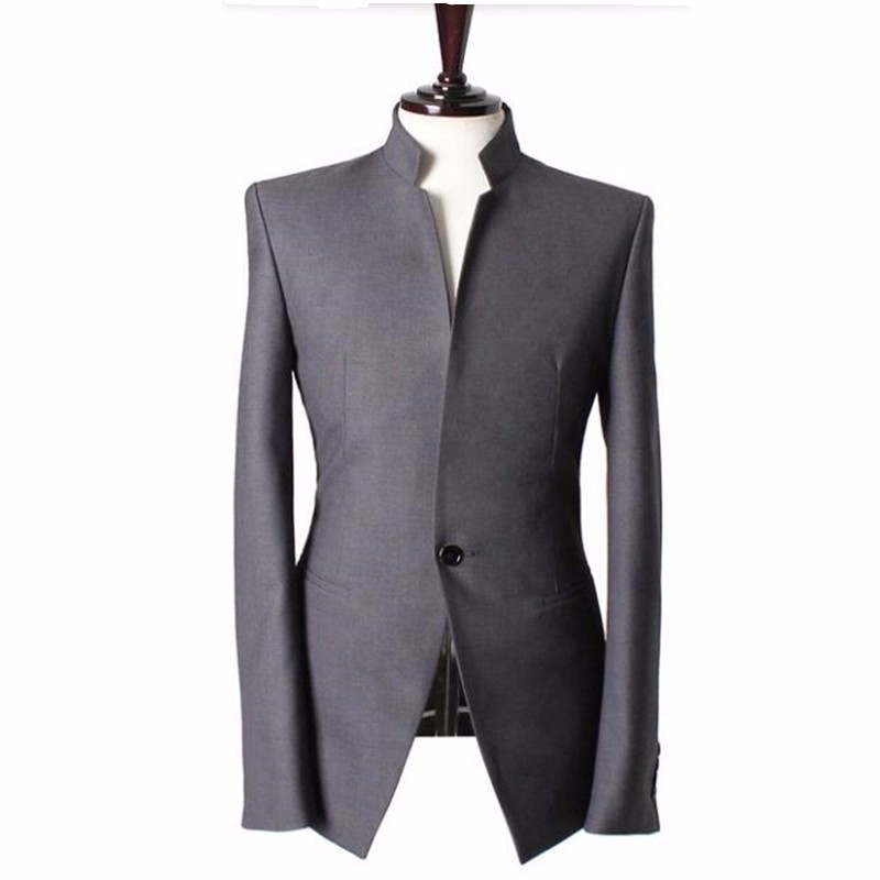 3.1Mandarin collar Gentlemen men suits jacket Handmade Wedding groom tuxedos vest Men Custom Made Men Suit Jacket