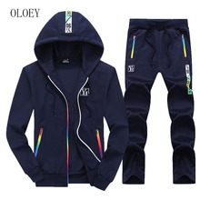 OLOEY Suits For Teenagers 2019 Spring Hoodie Sportsuit Fashion Jogging Male Set Long sleeve Print Tracksuit Plus Size Sweatshirt