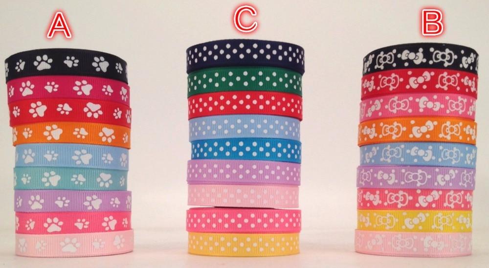 Новый набор ПВХ коробка 45 ярдов смешанные 9 стиль милый лапа, лук и горошек печатным рисунком Grosgrain ленты, каждый 5 ярдов волосы галстук DIY