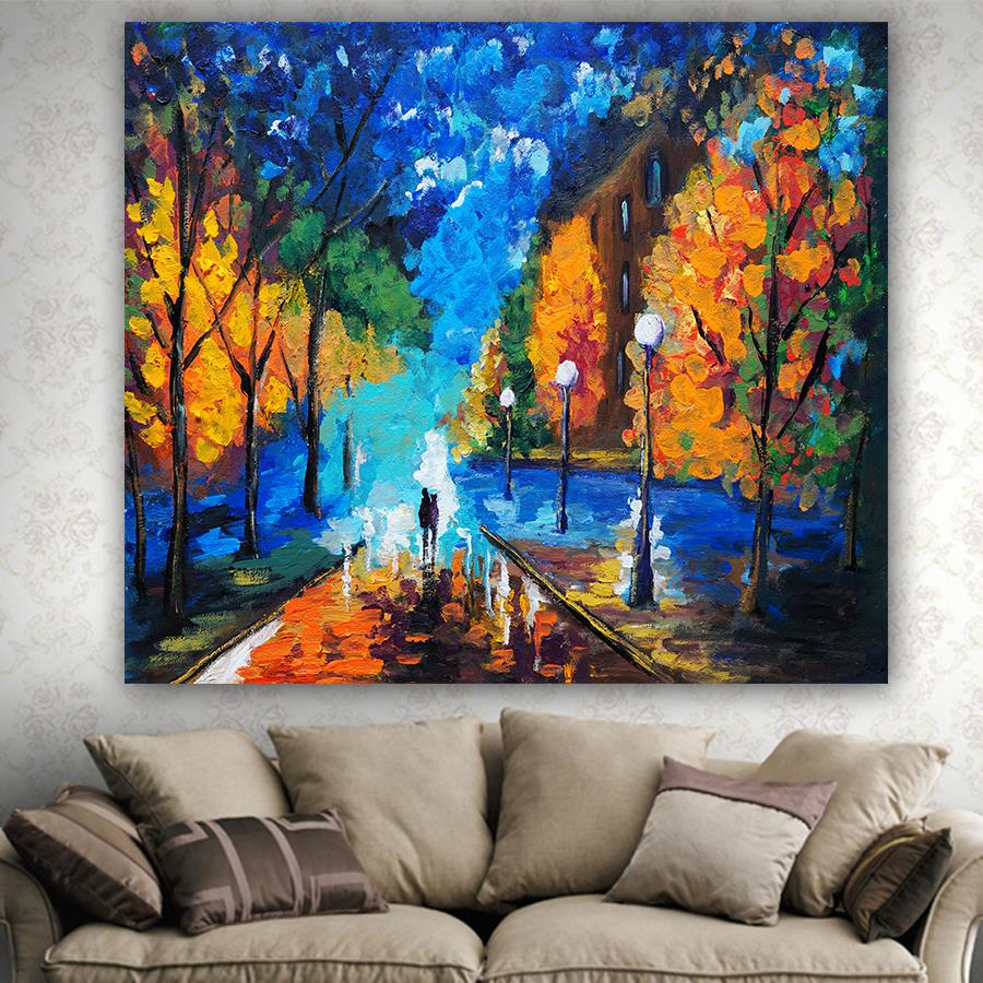 High quality oil painting printed tapestry small village Scenic wall hanging carpet comfortable no fade tapestries mmuju in Tapestry from Home Garden