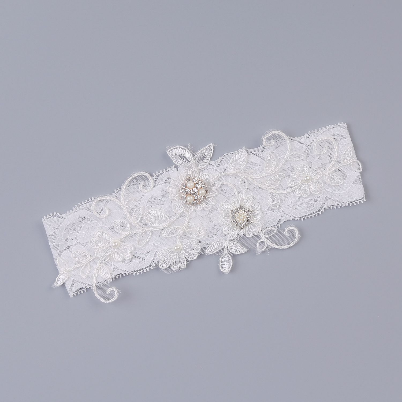 Wedding Garter Rhinestone Embroidery Flower Beading White Sexy Garters For Women/Female Thigh Ring Bridal Leg Garter