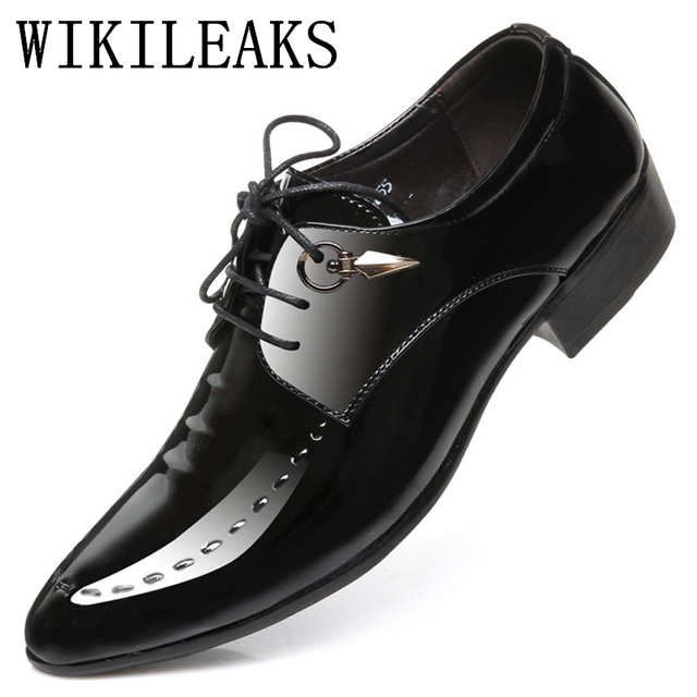 Mens Pointed Toe Dress Shoes Luxury Brand Designer Italian Patent