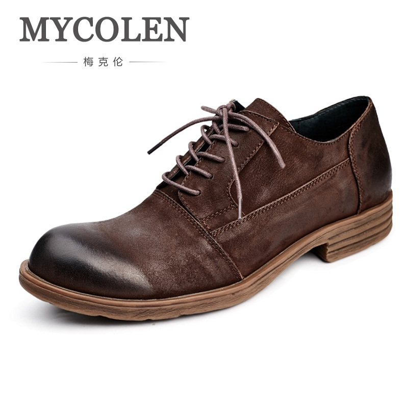 MYCOLEN Men Boots 2018 New Fashion Vintage Style Leather Shoes Men Casual Spring/Autumn Lace-Up Men Shoes Sepatu Kulit Pria men s leather shoes vintage style casual shoes comfortable lace up flat shoes men footwears size 39 44 pa005m