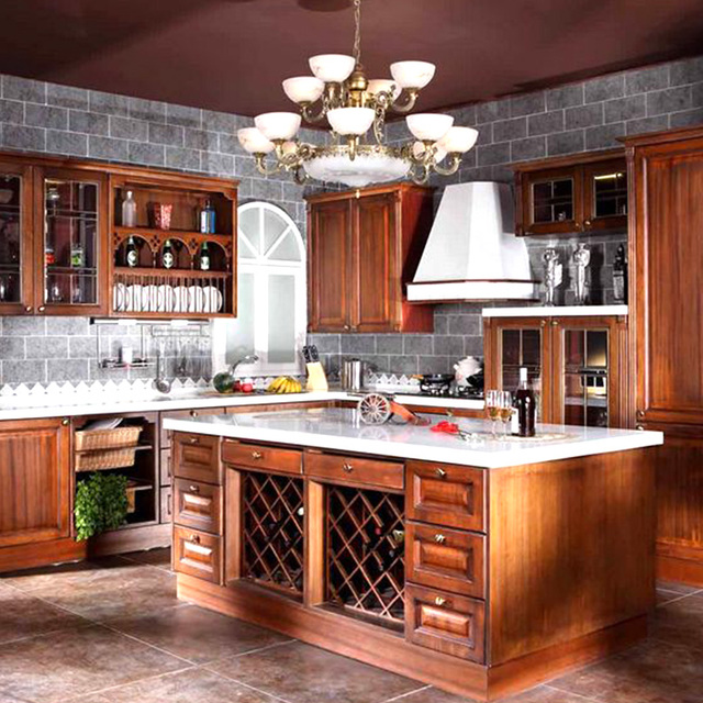 Us 2377 08 Modular Kitchen Cabinet Customize Red Oak Pure Solid Wood Board Overall Vintage Solid Wood Kitchen Cabinet In Kitchen Cabinets From Home