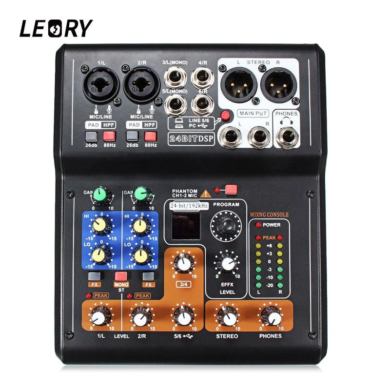 LEORY 6 Karaoke Channel Digital Sound Amplificateur Intégré 48 v Alimentation Fantôme Mini Microphone Audio Mixer Console De Mixage Avec USB