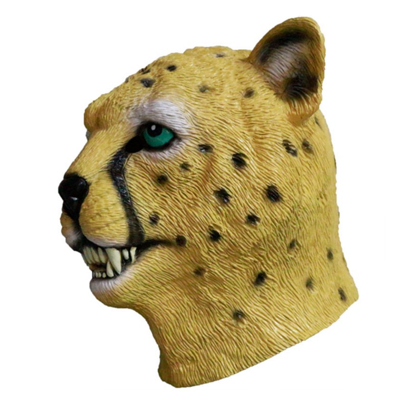 Halloween Cosplay Leopard Head Latex Adult Animal Mask in Party Masks from Home Garden
