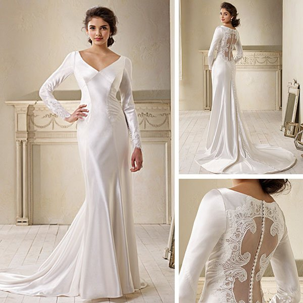 New Style Wd012 Fashion Satin Y Backless Mermaid Wedding Dress Long Sleeves