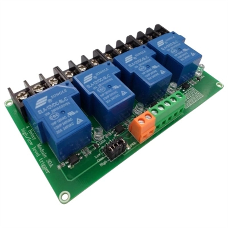 цена на four 4 channel relay module 30A with optocoupler isolation 5v 12v 24v supports high and low Triger trigger for Smart home