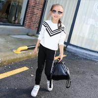 Girls Sweater Suit Two Piece Spring And Autumn Conjuntos Das Meninas Children S Clothing Sets Striped