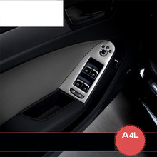 цена на Stainless steel door armrest panel cover trim window glass lift buttons frame decal strip 3D sticker for Audi A4 B8 2009 To 2016