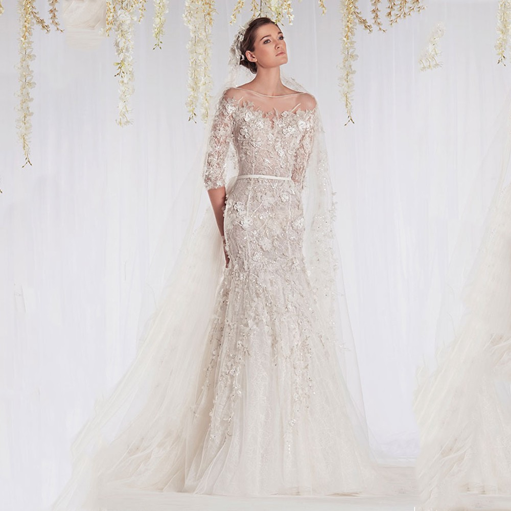 Selling Wedding Gowns: Hot Selling Glamorous Boat Neck Appliqued Beaded Half