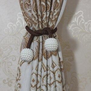 Image 3 - 1 Clip de cortina magnético de perlas soportes de cortinas, Clips de hebilla, hebilla de bola colgante, lazo, accesorios de cortina, decoración del hogar