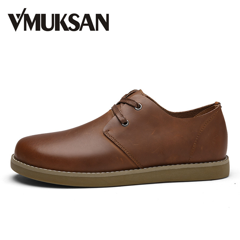 VMUKSAN Men's Casual Shoes Lace Up Split Leather Shoes For Man Brown Fashion Spring Man Shoes Round Toe Flats new stylish man shoes lace up round toe comfort breathable shoes for man casual flats loafers chaussure homme free shipping