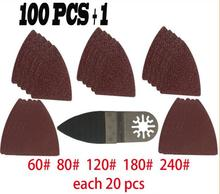 100 pcs Sanding paper+ Finger sanding pad for Fein Dremel power tool,sandpaper for oscillating multi  tool accessories