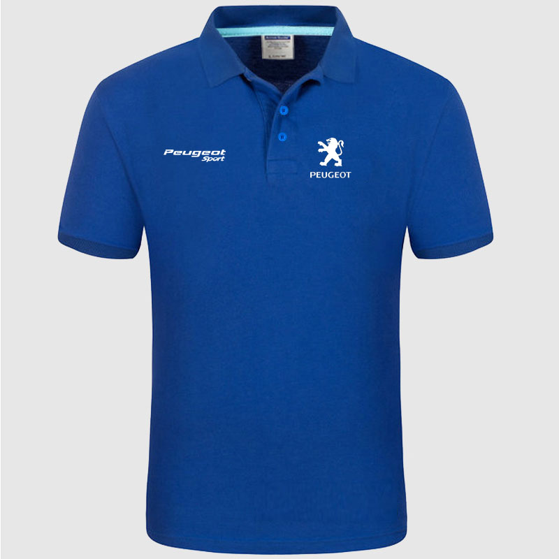 High quality Peugeot logo   Polo   classic brand Men   Polo   Shirt Men Casual solid Short Sleeve cotton   polos