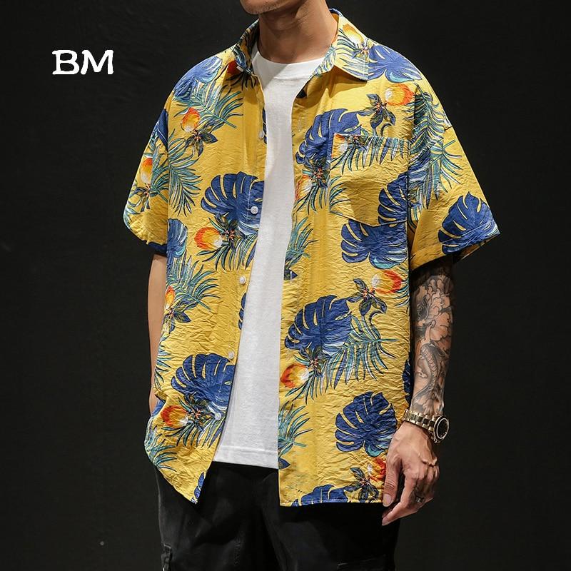 2019 chemise hawaïenne été chemises de plage pour hommes streetwear imprimé floral chemise harajuku surdimensionné chemise à manches courtes 5XL