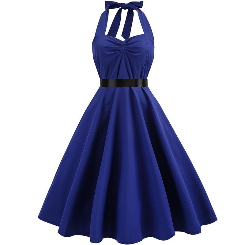 Sexy Halter Party Dress Retro Polka Dot Hepburn Vintage 50s 60s Pin Up Rockabilly Dresses Robe Plus Size Elegant Midi Dress 12