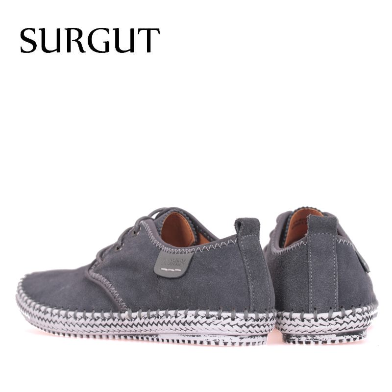SURGUT Brand Minimalist Design 100% Genuine Suede Leather Mens Leisure Flat Brand Spring Formal Casual Dress Flat Oxford Shoes