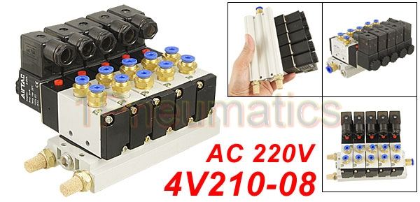 Free Shipping High Quality AC 220V Single Head 2 Position 5 Way 5 Pneumatic Solenoid Valve w Base 1Pneumatics free shipping 10sets lot pneumatic ac 220v quadruple solenoid valve w base push in connectors silencers 5 stations