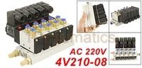 Free Shipping High Quality AC 220V Single Head 2 Position 5 Way 5 Pneumatic Solenoid Valve w Base 1Pneumatics
