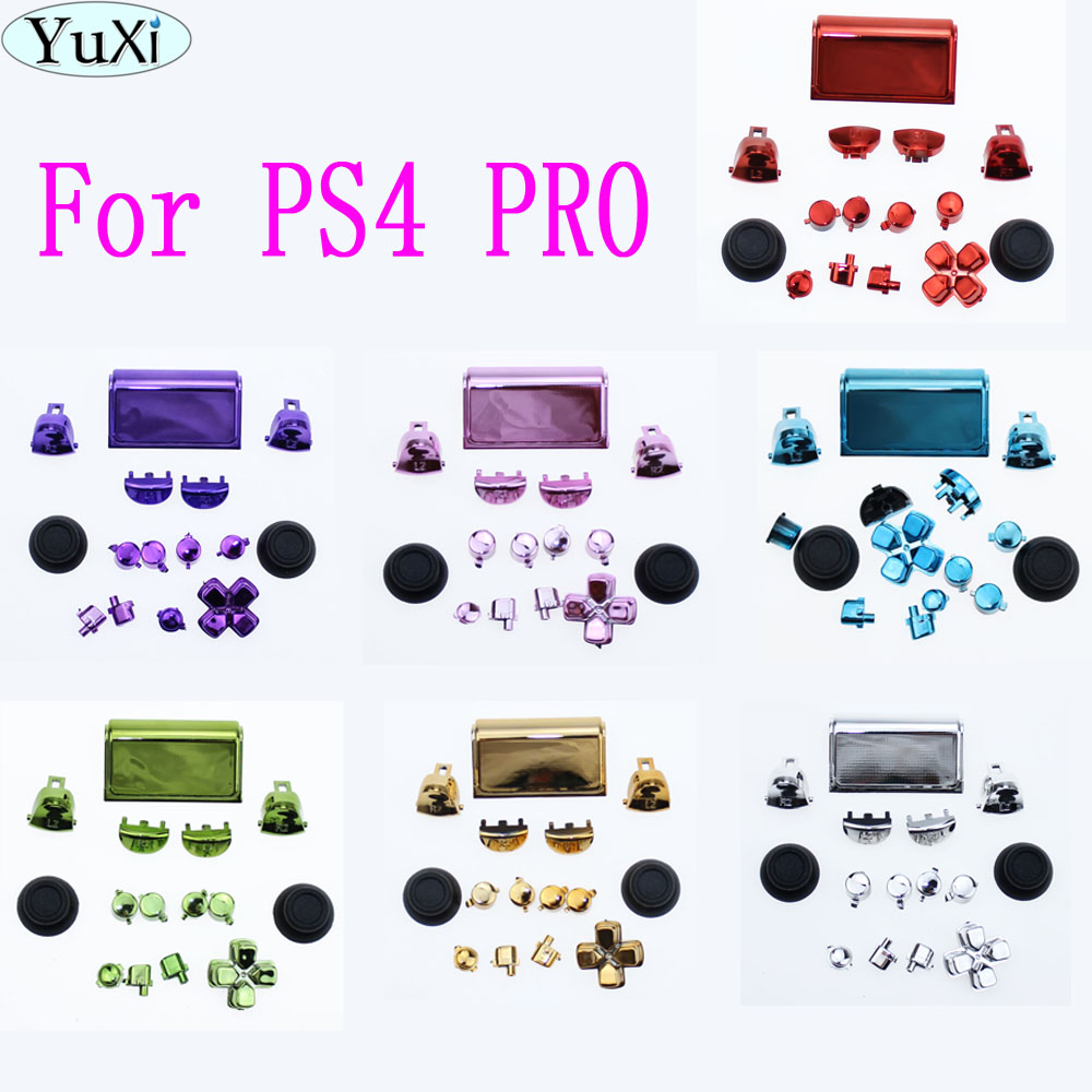 YuXi 5set/lot chrome Full Butons For PlayStation 4 PS4 Pro Controller CUH-ZCT2 JDM-040 JDS 040 R2 L2 R1 L1 Trigger Button