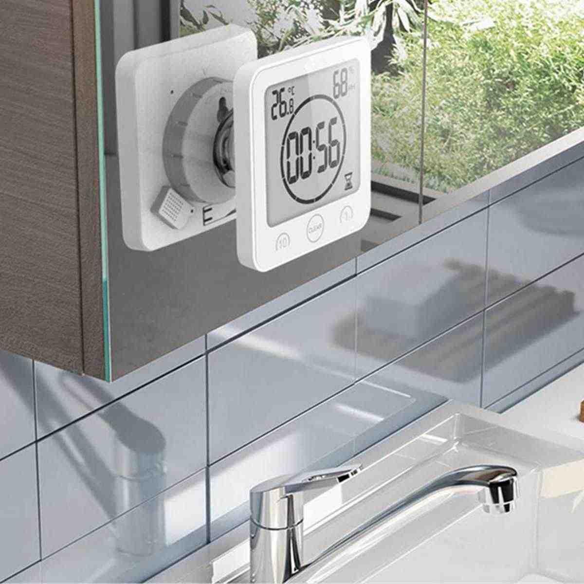 Водонепроницаемые ЖК-цифровые настенные часы для душа на присоске настенная подставка с сигнализацией Таймер Температура Влажность Ванна Метеостанция для дома
