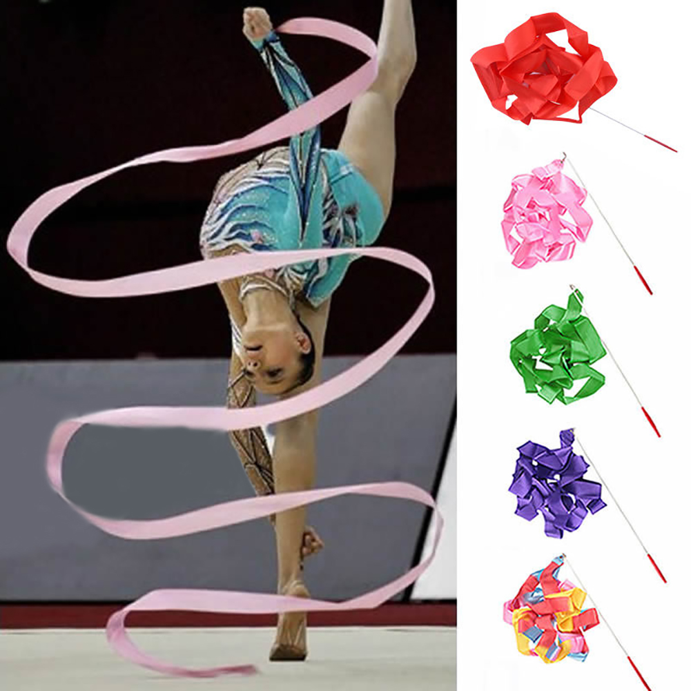 4M Colorful Dance Ribbon Gym Rhythmic Art Gymnastic Streamer Twirling Rod Stick Gymnastic Training Ribbon