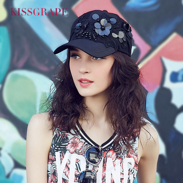 9ae5237a927df Summer Females baseball caps women s hats bone snapback caps with flowers  fashion black baseball hats hip