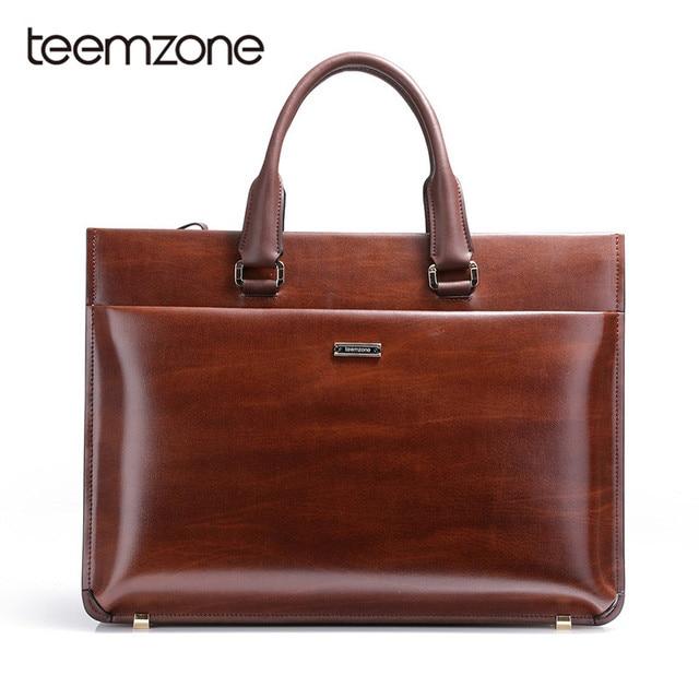 Teemzone Men Genuine Leather High End Business Briefcase Messenger Laptop Case Attache Bag Brown Portfolio