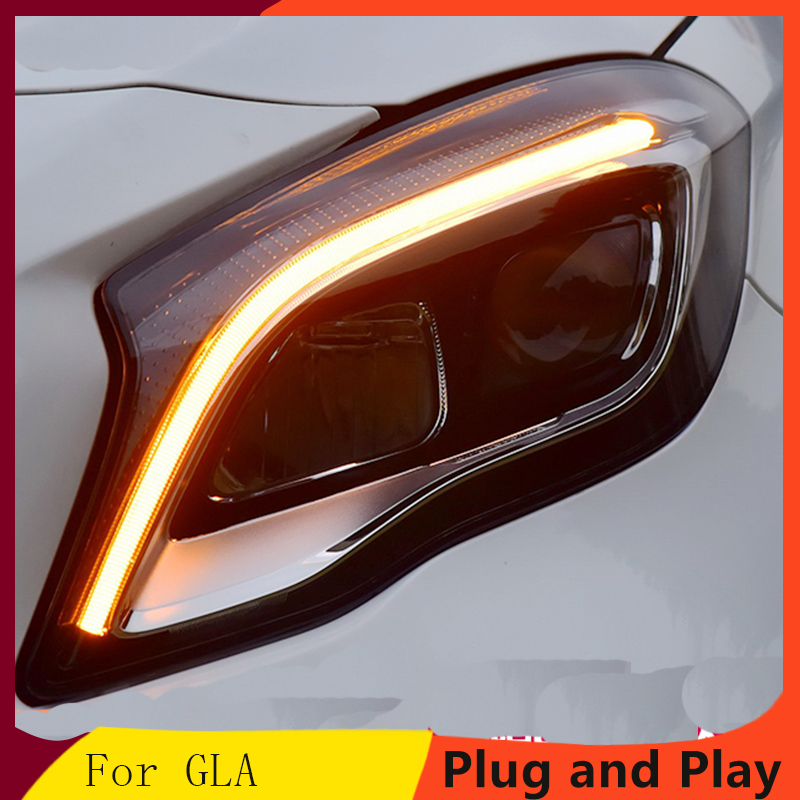 Car Styling For Mercedes Benz GLA headlight assembly low with new high with unlock a touch