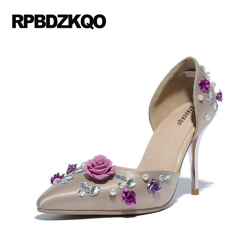 D'orsay Stiletto 2017 Ladies Dress Shoes Satin Sweet High Heels Gray Pumps 4 34 Small Size Flower Pointed Toe Summer Evening 4 34 small size gold shoes wedding pointed toe 7cm 3 inch satin high heels stiletto 33 flower pumps ladies colourful embroidery