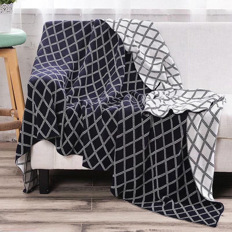 Hot Selling Home Textile Blanket Bed Sheet Geometric Pattern Double Face Blanket Large Elastic Blanket Grey Black