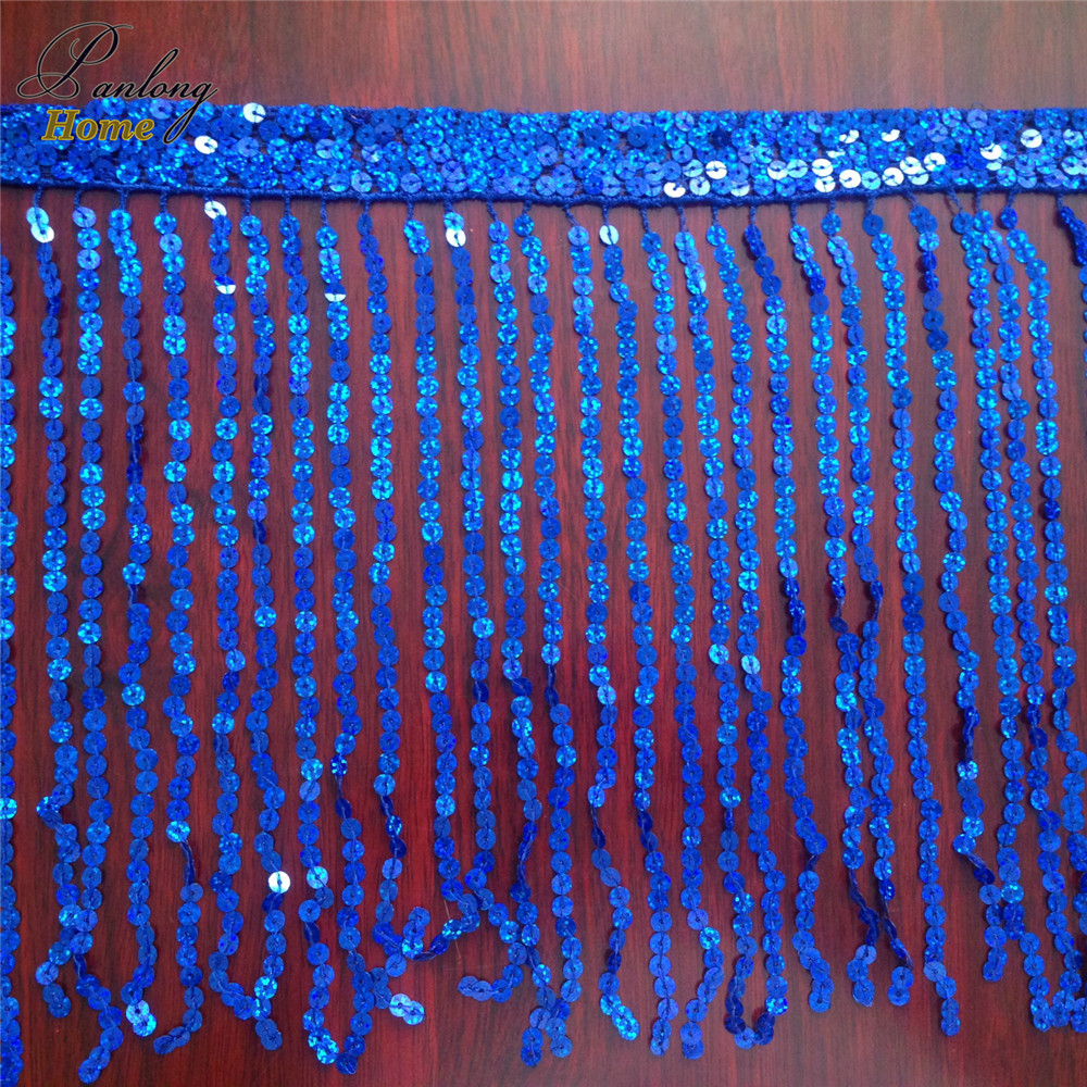 PanlongHome 40yds 30CM Embellished Beads Sequin Lace Trim Ribbon Sequin Fabric For DIY Belly Latin Dance