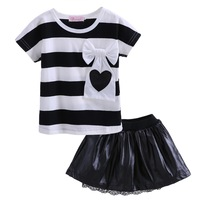 Pettigirl Retail Casual Summer Girls Clothing Sets Fashion Girl Custome Black And White Top With Bow And Black Skirt CS41207-01