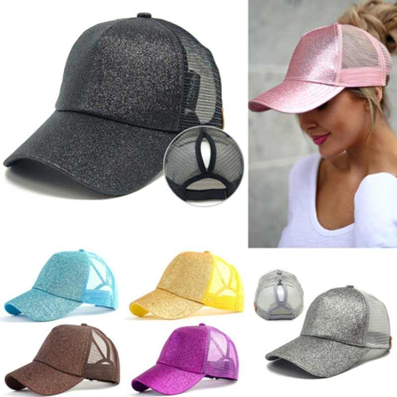 dab96cb2bf2 ... 2019 Glitter Ponytail Baseball Cap Women Snapback Hat Summer Messy Bun  Mesh Hats Casual Adjustable Sport ...