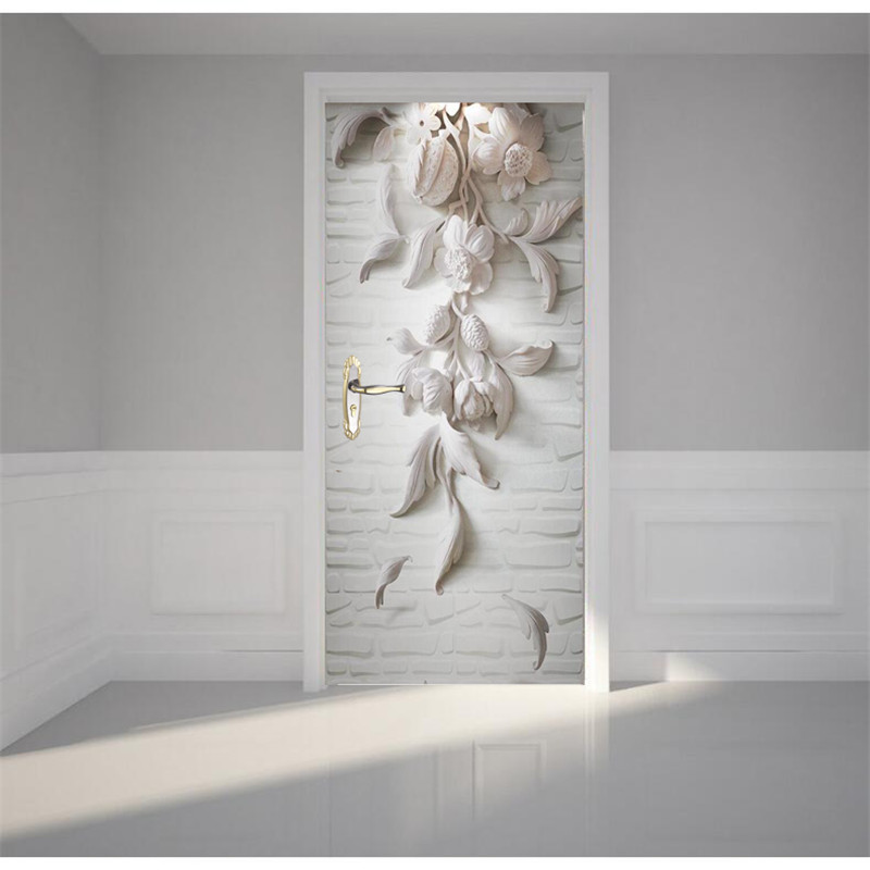 Self Adhesive Wall Painting Door Wallpaper White Flower
