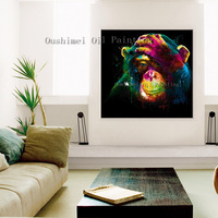 New Hand Painted Oil Painting Monkey Hang Acrylic Picture Pure Handmade Modern Colorful Animal Fine Art Oil Paint for Home Decor