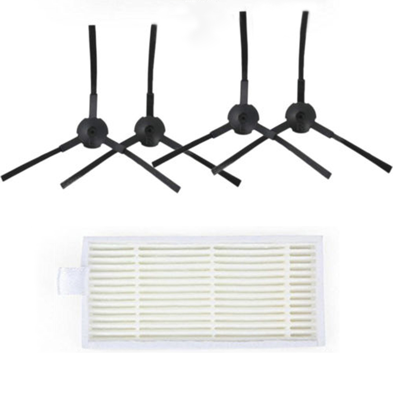 5 Pcs/set Sweeping Robot Parts Accessories Vacuum Cleaner 2x Left 2x Right Side Brushes + 1x Filter Parts Medion MD1619 / 18500