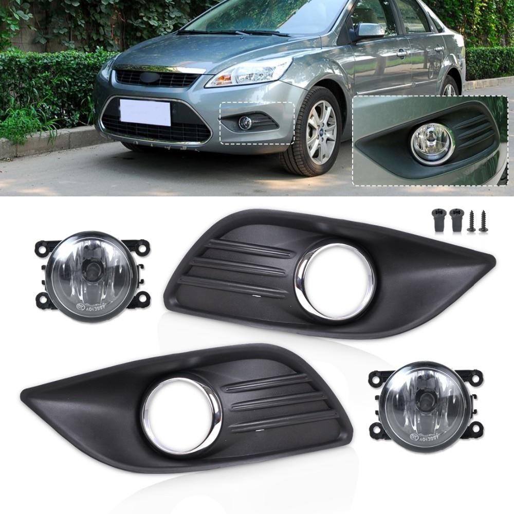 ФОТО Tracking# New Black Front Lower Left Right Bumper Fog Light Grille Cover+Fog Lamp Kit for 2009 2010 2011 Ford Focus Sedan 4 Door