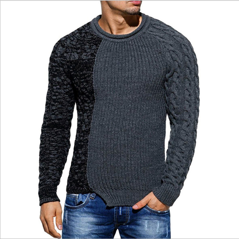 Sweater Men 2018 Autumn Winter Warm Brand Male Long Sleeve Creative Splicing Men Sweater Slim Pullover Sweater Casual Sportswear