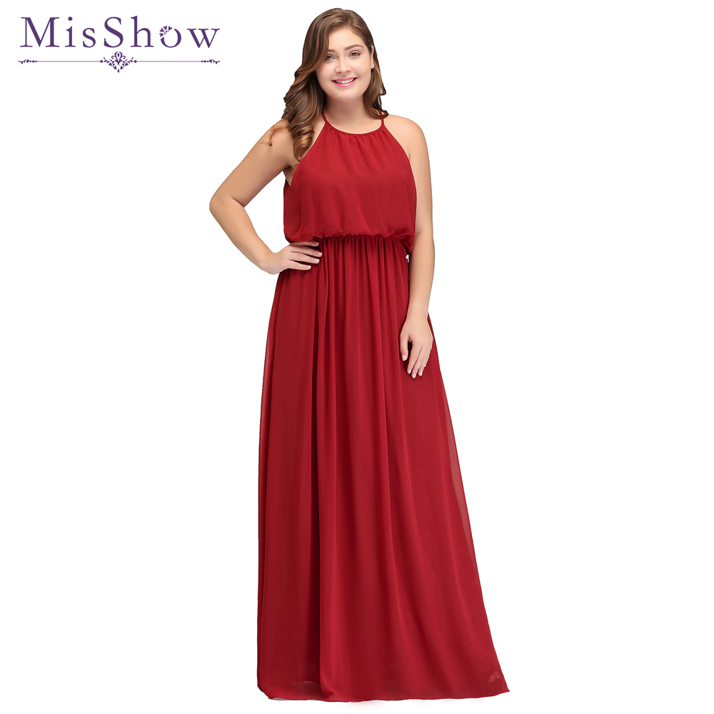 In Stock Long Cheap Plus size   Bridesmaid     Dresses   2019 A-Line Halter Chiffon Long Wedding Party   Dress   robe demoiselle d'honneur