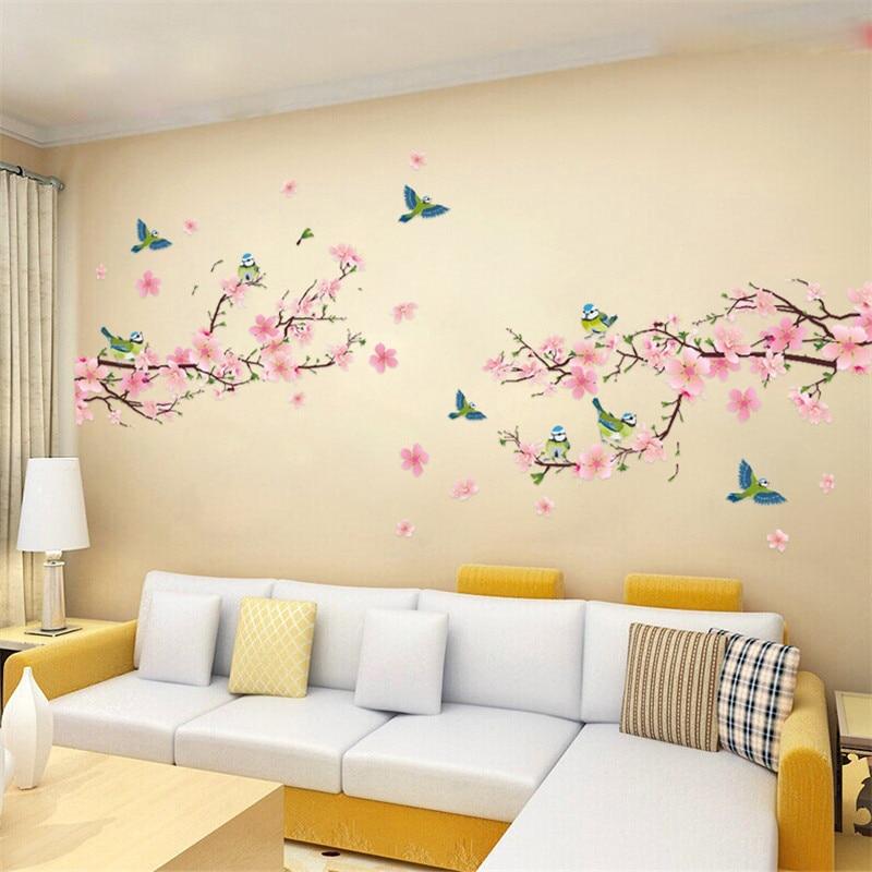 Sakura Wall Stickers Decal Bedroom Living room DIY Flower ...