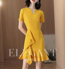 Żółty sukienka temperament 2019 nowy lato francuski mniejszości-line sukienka
