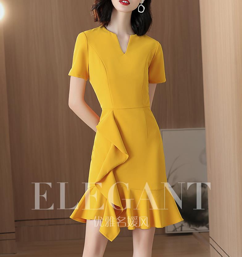 The yellow fishtail dress temperament 2019 new summer French minority a-line dress