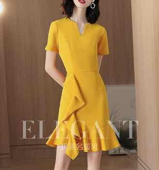 The yellow fishtail dress temperament 2019 new summer French minority a-line dress - DISCOUNT ITEM  0% OFF All Category