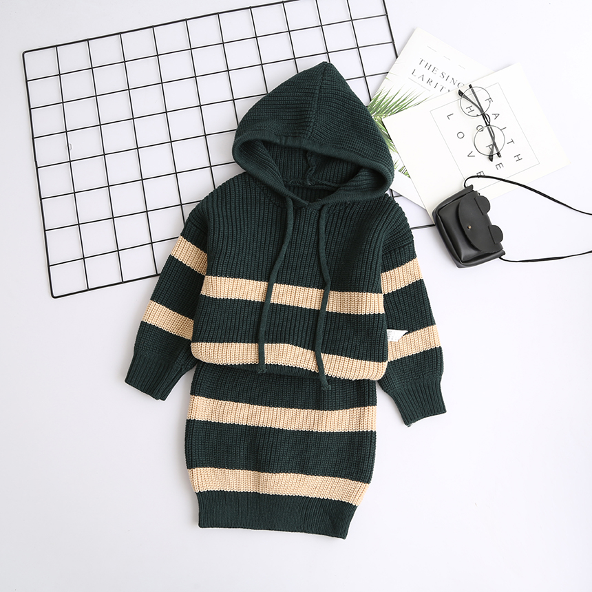 Kids Girl Fashion Clothes Set Hooded Stripe Sweater And Skirt Wholesale Lots Bulk Clothes Toddler Girl Fall Winter Outfits 2018 contrast stripe asymmetric hem skirt