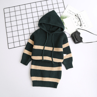 Kids Girl Fashion Clothes Set Hooded Stripe Sweater And Skirt Wholesale Lots Bulk Clothes Toddler Girl Fall Winter Outfits 2018